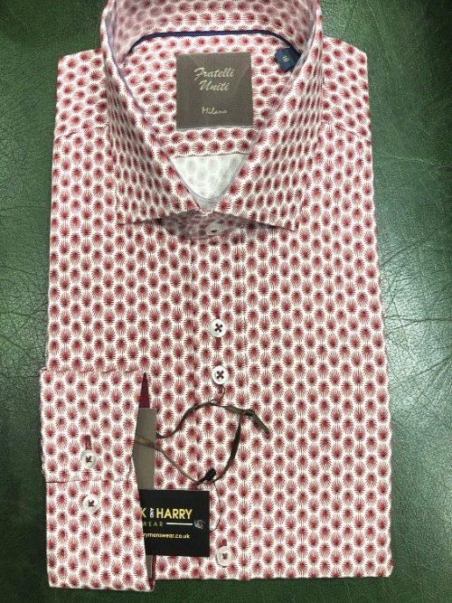 FRATELLI - Burgundy Pattern Long Sleeve Shirt