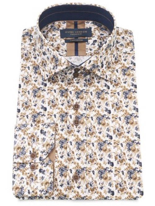 GUIDE LONDON - WHITE DISTRESSED FLORAL PRINT LONG SLEEVE SHIRT