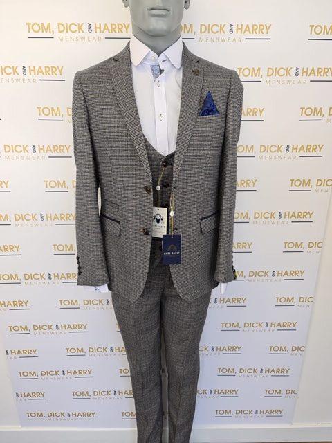 MARC DARCY - Hardwick 3 Piece Suit - Navy and Tan