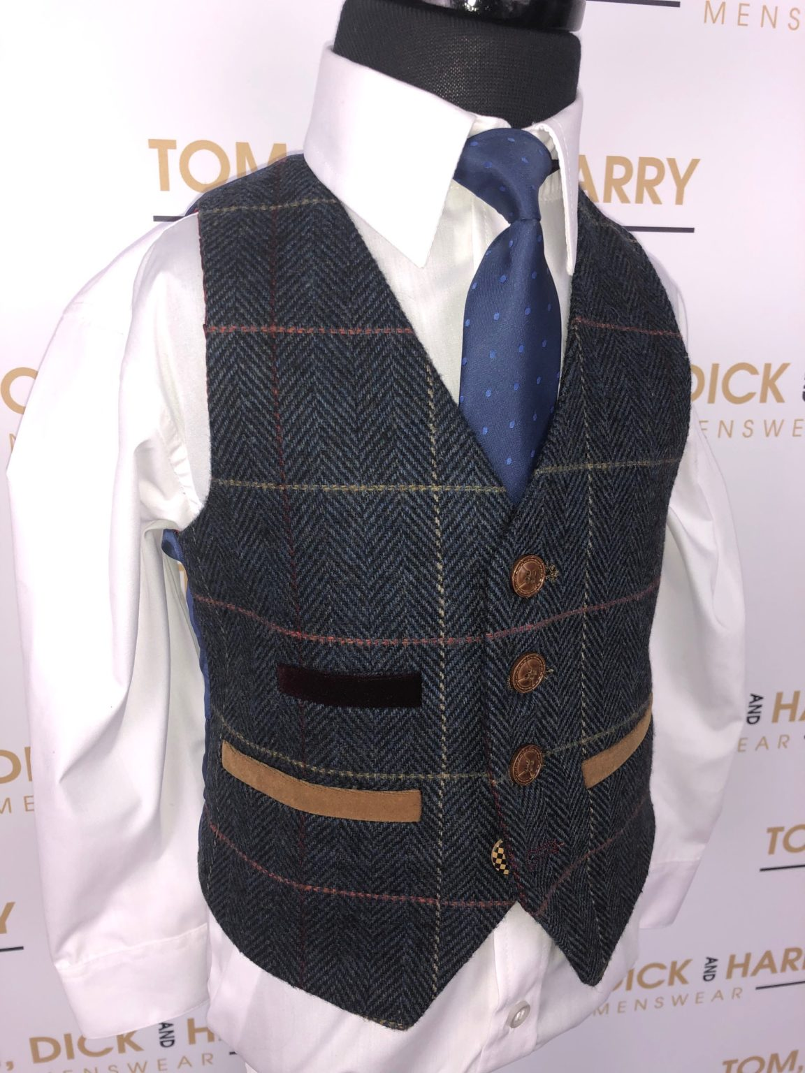 Marc Darcy - ETON - Childrens Navy Blue Tweed Check Three Piece Suit
