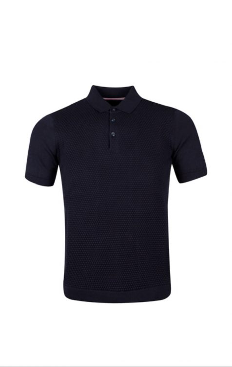GUIDE LONDON - NAVY KNITTED JACQUARD POLO