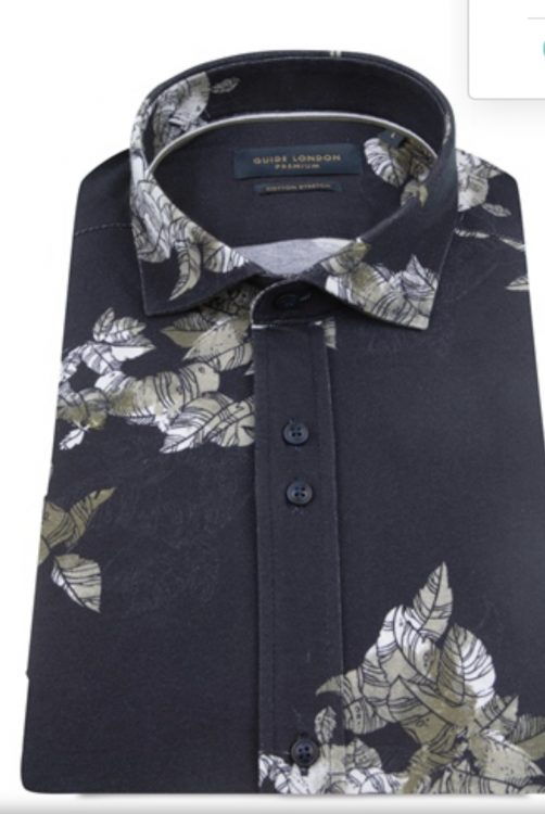 Guide London Navy 'Leave it Out' Half Sleeve Shirt